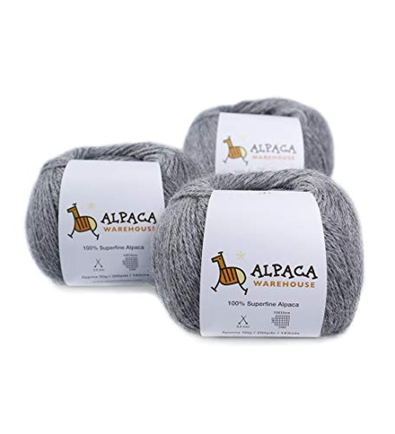 100% Alpaca Yarn Wool Set of 3 Skeins Fingering Weight (Soft Gray)