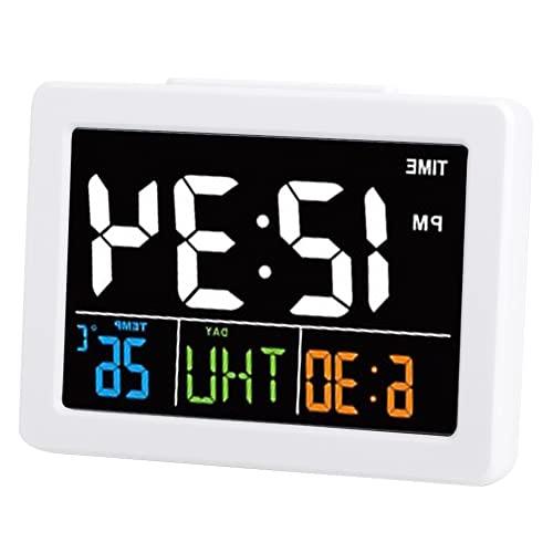 COHU Reloj De Mesa, Reloj Despertador LED para Dormitorio, Sala De Estudio, Oficina para Mujeres, Hombres, Niños, Adultos, Estudiantes(Blanco)