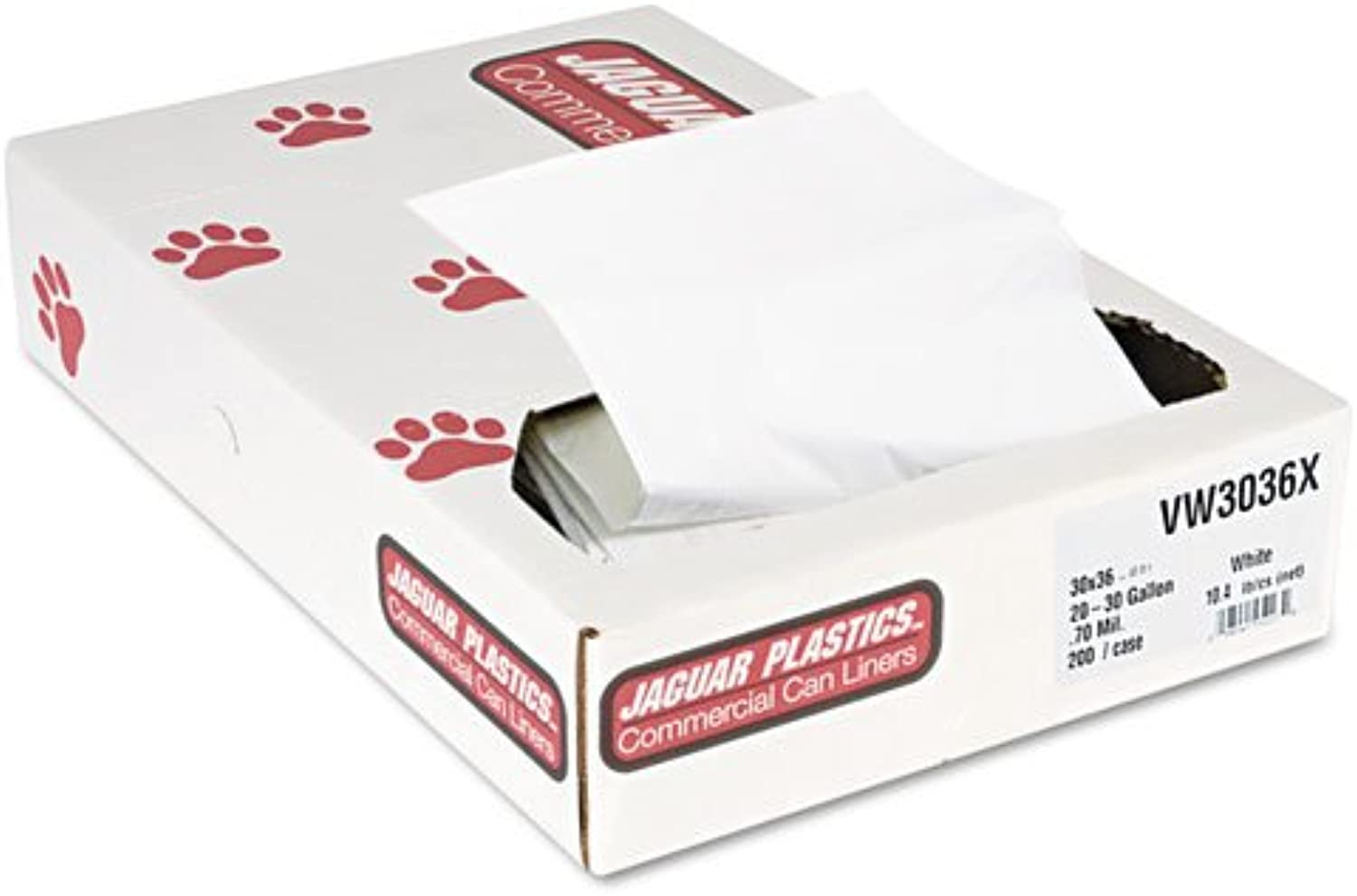 Jaguar Plastics Industrial Strength Commercial Can Liners, 30 gal, .7 mil, White - Includes 200 per case.