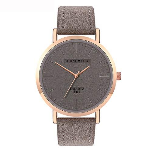 Neuer Trend Damen Armbanduhr mit Leder Armband, Frauen Minimalistisch Modisch Analog Quarz Ultradünn Uhren Elegant Damenuhr Geschenk LEEDY