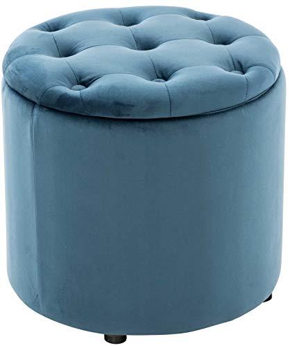 Puff De Almacenaje Redondo Pantin I Otomana De Salón Tapizada En Terciopelo I Taburete Reposapiés De Almacenamiento I Color:, Color:Azul