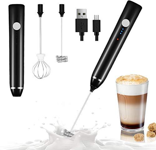 Dallfoll Espumador de Leche Eléctrico, USB recargable batidor eléctrico, vaporizador de leche, Bubbler leche para Latte, capuchino, huevo batidoo (negro)
