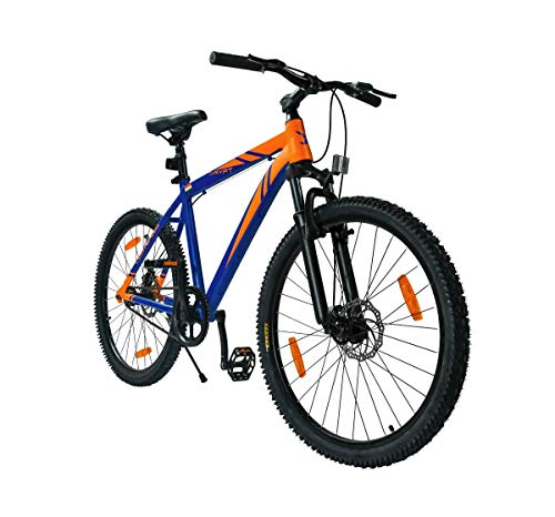 Lightspeed DRYFT MTB Single Speed Lightweight Aluminium Alloy Frame Dual Disc Brakes Hard Tail Grip 2.10 Kenda Tyres Bicycle Mountain Bike (Cobalt Blue and Orange)