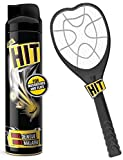 HIT Anti Mosquito Racquet - Rechargeable Insect Killer Bat with LED Light (6 Months Warranty) & Mosquito and Fly Killer Spray, 200ml Combo