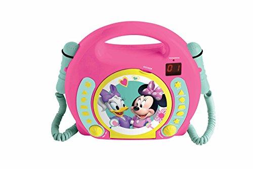 Lexibook RCDK100MN - Lettore CD con 2 microfoni Disney Minnie, design Minnie/Daisy, presa cuffie, con manico, a batterie, Rosa
