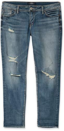 Silver Jeans Co. Women's Suki Curvy Fit Mid Rise Ankle Slim Jeans, Medium Indigo Destroyed, 30x27