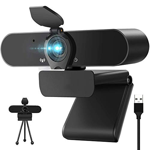 Hulier Webcam mit Mikrofon Stativ Webcam Abdeckung,1080P USB Webcam Autofokus/Stereo Kamera für Live-Streaming/Videokonferenz/Video Chat/Gaming, Laptop/Desktop, Mac/Windows