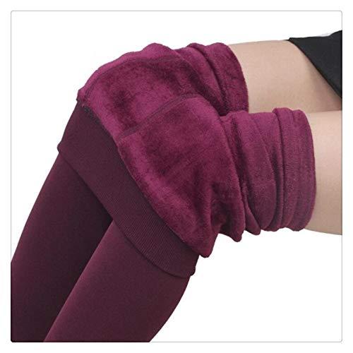 XBECO Trend Knitting - Mallas de invierno para mujer, de alta elasticidad, gruesas, cálidas, pantalones ajustados, para mujer, buena elasticidad (color: K018, rojo vino, tamaño: talla única)