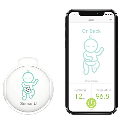 (2020 New Model) Sense-U Baby Monitor with Breathing Rollover Movement Temperature Sensors: Track Your Baby's Breathing, Rollover, Body Temperature (Pink)