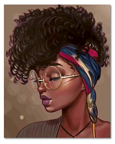 HVEST Black Girl Canvas Wall Art African Woman with Glasses Framed Oil Painting Stretched