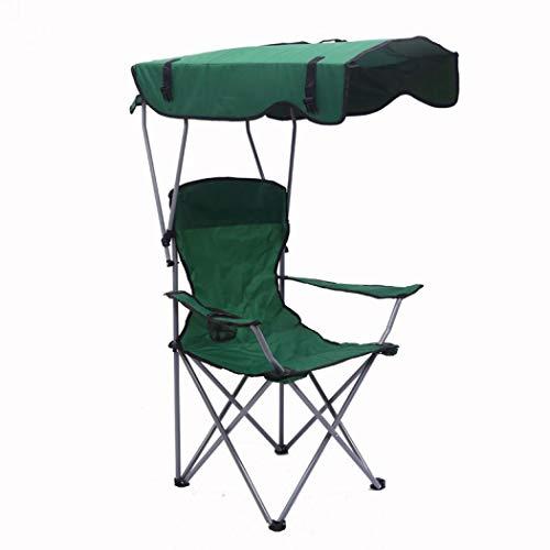 Campingstuhl mit Schirm, Klappstuhl, Angelstuhl, für Outdoor, Strand, Camping, Park, Terrasse, unterstützt 380 lbs