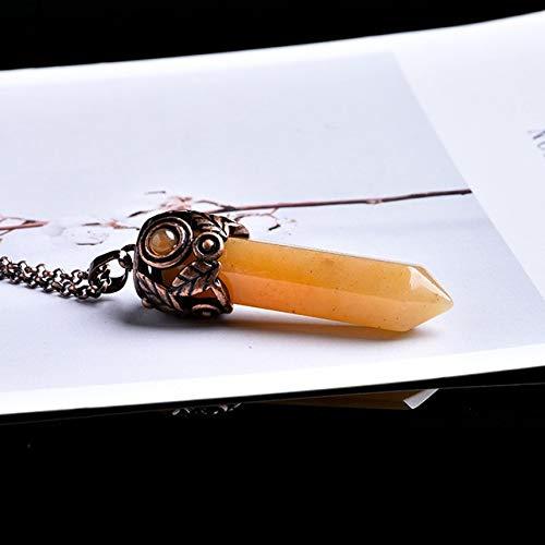 IENPAJNEPQN Cristalino de la Vendimia Natural de Cristal Mineral 1PC Adornos Señalando reparación mágica Yoga adivinación Amuleto Colgante de la energía DIY Regalo (Color : Mi Huangyu)