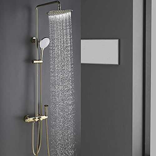 Juego de grifos de ducha, cabezal de ducha tipo lluvia de lujo con rociador de mano, rociador de bidé, juego de grifos termostáticos de pared para bañera, latón macizo,Oro