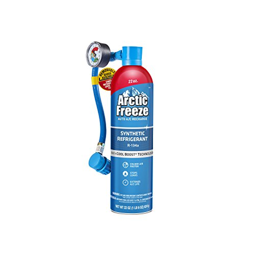 Arctic Freeze Car Air Conditioner R134A Refrigerant, AC Recharge Kit Includes Gas, Gauge and Hose, 22 Oz, AF22-6
