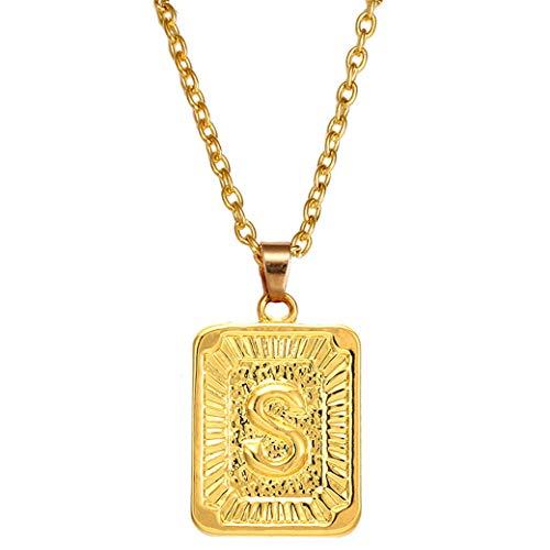 HBWHY Collar con colgante de letra del alfabeto para mujeres y hombres, accesorio de joyería de regalo, S #
