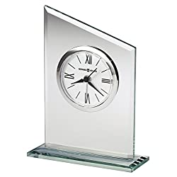 Howard Miller Leigh Table Clock 645-805 – Modern Glass with Quartz, Alarm Movement
