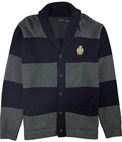 Ralph Lauren Mens Shawl Collar Cardigan Sweater, Blue, Large