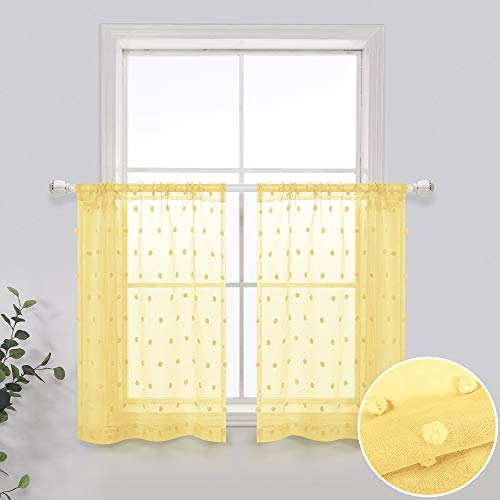 Short Curtains 24 Inch Length for Kitchen Windows Set 2 Pack Sheer Pole Pocket Little Pom Pom Decor Textured Small Half Curtain Valances Yellow Kitchen Tiers 24 Length for Bathroom Camper 30x24 Long Delaware