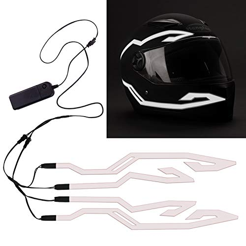 4PCS Motorcycle Helmet Light, Night Riding Signal Helmet EL Light, 3 Mode Led Helmet Light Strip Decoration Accessories Kit for Motorcycle, Bike Helmet (White, Battery Powered)