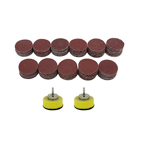 AUTOTOOLHOME 110pcs 1 inch Sanding Discs with 2ps 1/8 Shank Polishing Pads Hook and Loop Sandpaper Abrasive Tool Attachment 40-600Grit