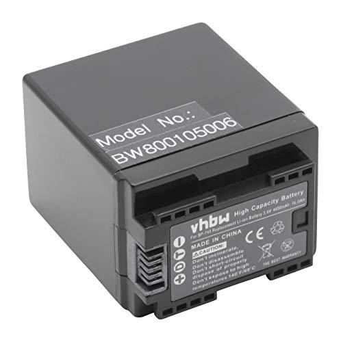 vhbw Li-Ion batteria 4450mAh (3.6V) con infochip per videocamera Canon Legria HF R606, HF R66, HF R68, HF R406, Vixia HF M50 come BP-727, BP-745