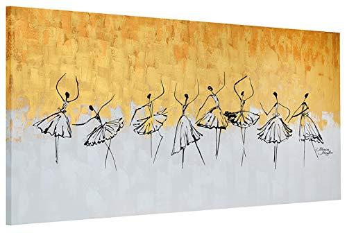exclusive-gallery I Monica Mirafiori I Gemälde Gold People I 140x70cm | XXL Leinwandbild handgemalt | Acrylgemälde auf Leinwand | Sehr großes Acrylbild auf Keilrahmen