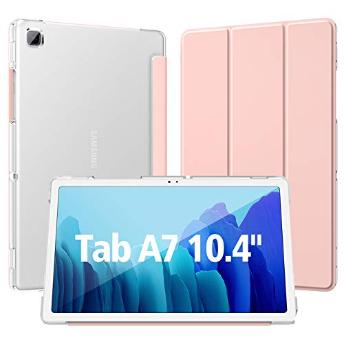 Dadanism Case for Samsung Galaxy Tab A7 10.4 Inch 2020 (SM-T500/T505/T507), Translucent PC Back Shell Ultra Slim Lightweight Trifold Stand Cover with Auto Sleep/Wake, Samsung Tab A7 Case - Pink