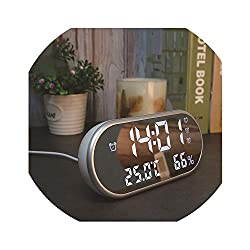 Little lemon Temperature Display Hd Display with Backlight Electronic Watch Desktop Clock Mirror Digital Alarm Clock Snooze Table Clocks,White