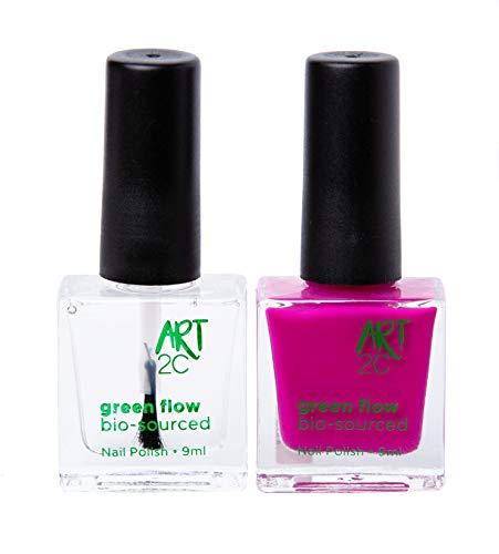 Art 2C - Esmalte de uñas puro con fórmula 85% ecológica y vegana, paquete de 2 productos: 1 base/acabado y 1 esmalte en tono femenino, 2 x 9ml