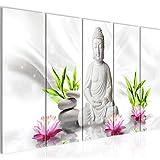 Decoración de la mesa de Buda Mural - 200 x 80 cm Vista de impresión en lienzo Salón Apartamento - listo para colgar - 011655c