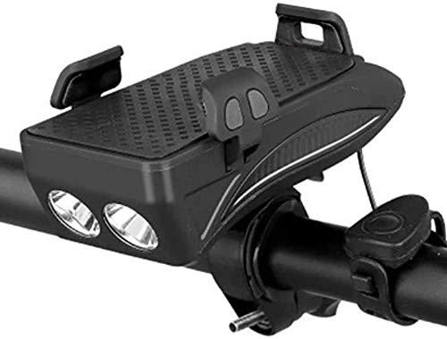 Luz de Bicicleta de Montaña Soporte de Teléfono de Bicicleta Frontal Accesorios de Luz LED con USB Impermeable Faros de Bicicleta Bocina de Bicicleta Fuente de Alimentación Móvil,Black-2000mAh Battery