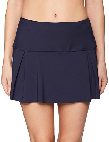 Nautica Women's Solid Pleated Swim Skirt Bikini Bottom, Deep Sea Navy, Medium