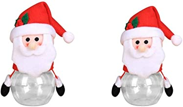 2 Pack Christmas Theme Candy Jar for Gift Plush Plastic Transparent Candy Storage Bottle with Lid Funny Sweet Sugar Collec...