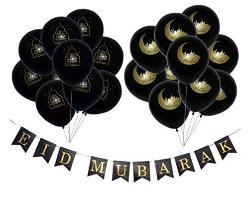 Eid Mubarak Deluxe Black & Gold Ballonnenset & Eid Mubarak Slinger | 21 stuks | Ramadan Feestdecoratie Eid Decoratie Chrome Ballonnen | Confetti Ballonnen