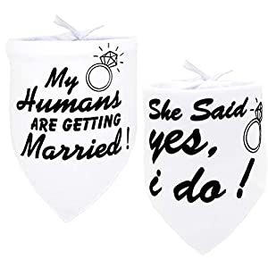 My Humans are Getting Married Dog Bandana for Medium to Large Dogs Wedding Pet Wedding Bandana Triangle Bibs Scarf Accessories