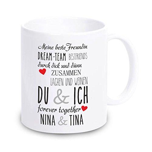 4youDesign Weiße Tasse Meine Beste Freundin mit Personalisierung - Geschenkidee - Beste Freundin - Geburtstag - Weihnachten - Geschenk - für sie - Frau - Mädchen