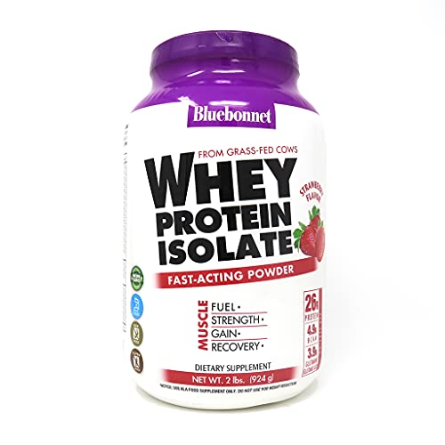 Bluebonnet Nutrition Whey Protein Isolate Powder, Whey From Grass Fed Cows, 26g of Protein, No Sugar Added, Non GMO, Gluten Free, Soy free, kosher Dairy, 2 Lbs, 28 Servings, Strawberry Flavor