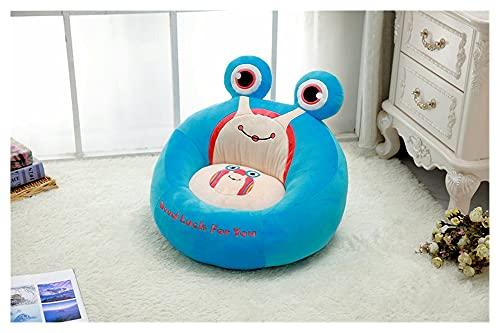 qingfeng Sofá de dibujos animados para niños, cómodo PP de algodón, con diseño de rana y abeja, tamaño pequeño, portátil, regalo para niños (color: azul, altura: 50 cm)
