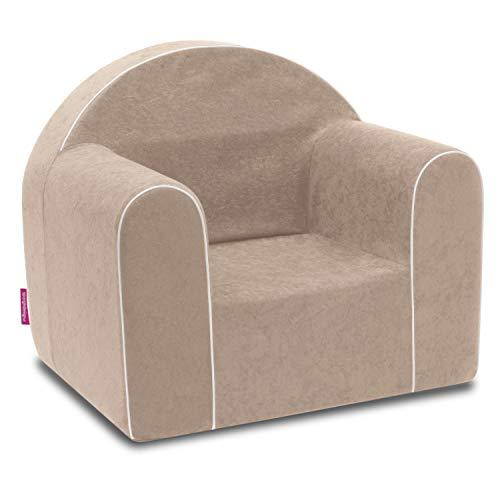 Mini sillón infantil para bebé, sillón, sofá, silla infantil, silla de espuma, respetuoso con el medio ambiente (marrón claro)