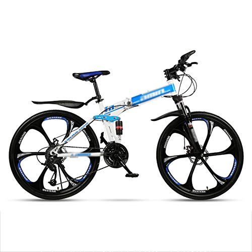 MFZJ1 24' Folding Mountain Bikes,Mountain Bike 21 Speed,Front and Rear Double Suspension System,Folding Mountain Bikes for Adults and Students,White