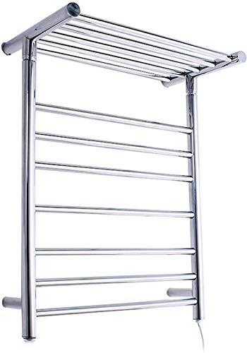 Toallero calefactado montado en la pared, Railleñas de toallas con calefacción Toalla Calentador de secado, Rack de toallas con calefacción eléctrica de acero inoxidable 304 con 7 barras climatizadas,