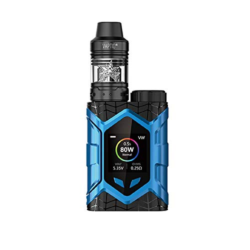 Vaptio E-Zigarette Vaptio Wall Crawler KIT 80 W FROGMAN TANK 2.0/5.0 ML Vapor Kit No E Liquid No Nicotine (5ml, Blau-1)