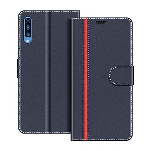 COODIO Handyhülle für Samsung Galaxy A70 Handy Hülle, Samsung Galaxy A70 Hülle Leder Handytasche für Samsung Galaxy A70 Klapphülle Tasche, Dunkel Blau/Rot