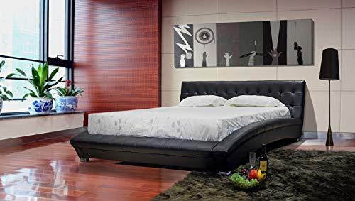 Greatime Queen Black Modern Leatherette Platform Bed/Modern Platform Bed Leatherette Bed with Tufted Headboard & European Slats