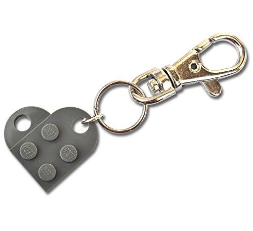 SJP Manchetknopen liefde hart sleutelhanger handgemaakt van Lego® platen (donkergrijs) bruiloft, vriendin, Valentijnsdag, verjaardag, dames sieraden cadeau