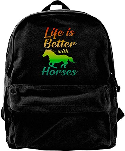 Life Is Better With Horses Vintage Privacy Canvas Shoulder Bag Travel Backpack School Bags