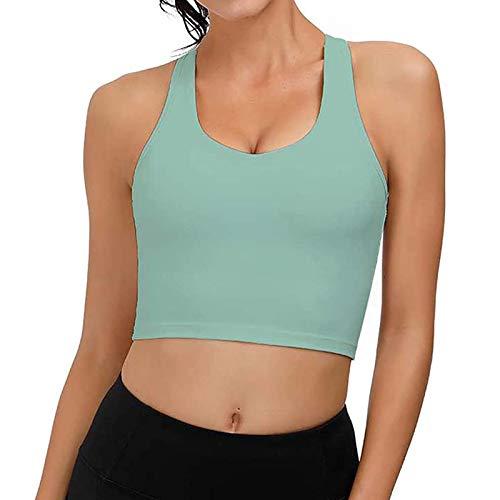 Dicomi Fashion Women Yoga Camisole Tights Casual Sleeveless Vest Ladies Chest pad Movement Short Tank Tops Green