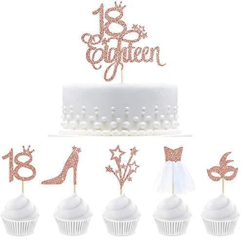 33 piezas de decoración para cupcakes con purpurina de oro rosa 18 18 18 18 cumpleaños con figura 18, máscara, tacones altos, estrellas, vestido de tul 3D para decoración de tartas de 18 cumpleaños