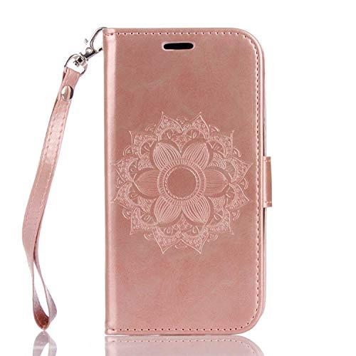 LG K7 / LG K8 Hülle, DENDICO Ledertasche im Ständer mit Kreditkartenhaltern & Magnetverschluss, Flip Case Tasche Wallet Case Schutzhülle für LG K7 / LG K8 - Rose Gold