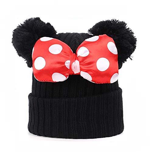 Gorro de invierno para niñas pequeñas con pompones de punto cálido gorro de bebé con orejas de ratón Bowknot, Negro, talla única
